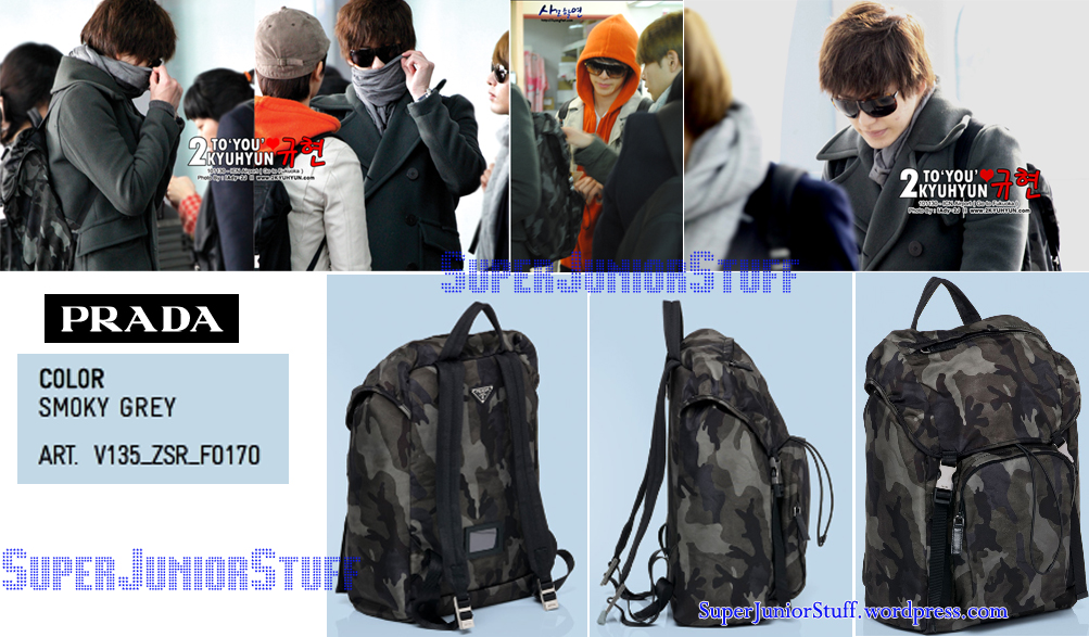 Kyuhyun\u0026#39;s backpack | Super Junior Stuff - prada backpack blue