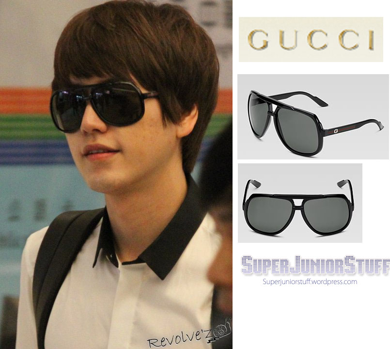 2f3e821b1058 Kyuhyun also wore sunglasses by Gucci called large aviator sunglasses with G  detail and signature web ...